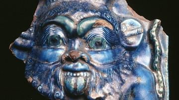 Bes, Blue Glazed Relief