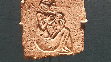 Egyptian Relief Of A Woman & Child