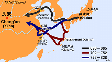 Sea Routes from Ancient Japan to China