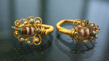 Gold & Glass Paste Earrings, Herakleia