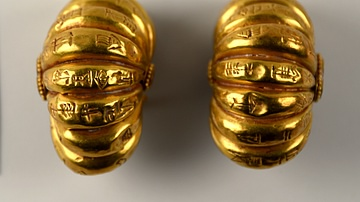 Cuneiform on Gold Earrings from Ur III