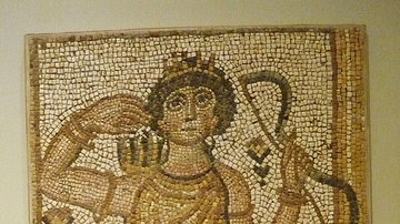 Floor Mosaic with the Goddess Artemis