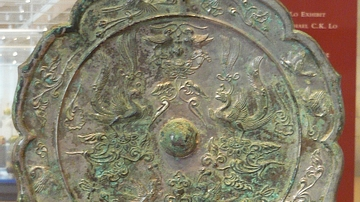 Chinese Bronze Mirror with Phoenix Motif