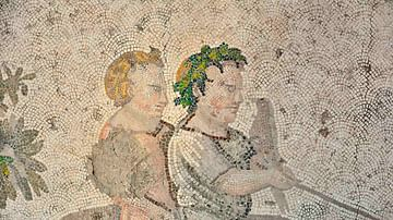 Byzantine Mosaic of Children Seated on a Dromedary