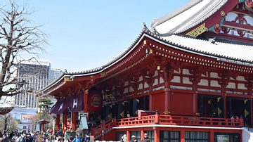 View of Main Hall at Tokyo's Sensoji Temple