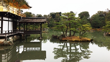 Side view of Kinkakuji Temple