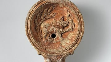 Roman Terracotta Oil Lamp with a Rhinoceros Image