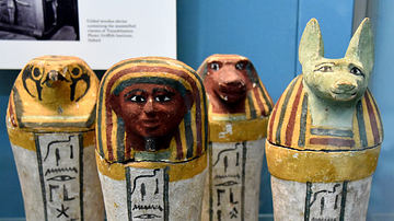 Painted Wooden Canopic Jars