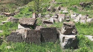 Stone Ruins from Arates Monastery in Armenia