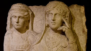 Funerary Relief from Palmyra of a Woman and Daughter