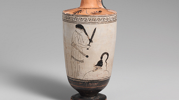 Attic Oil Flask Depicting a Scene from Seven Against Thebes