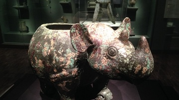 Bronze Ritual Vessel in the Shape of a Rhinoceros