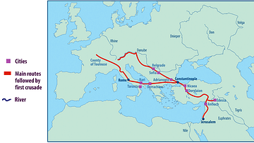 Map of the First Crusade Routes