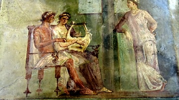 Pompeii Fresco of a Woman Playing a Lyre