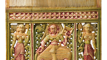 Painted Ivory Comb, Sri Lanka