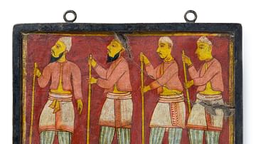 Tile with Stilt-Walkers, Sri Lanka