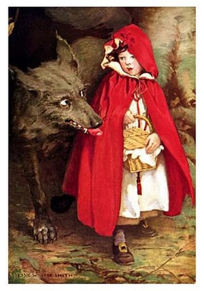 The Wolf & Little Red Riding Hood (by Unknown Artist, Public Domain)