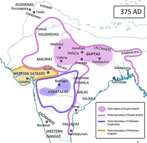 Extent of the Gupta Empire, 375 CE