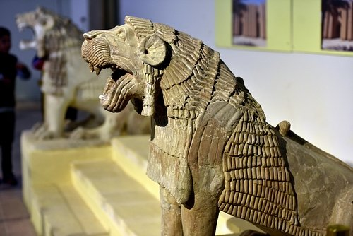 A Pair of Lions from Tell Harmal at the Iraq Museum