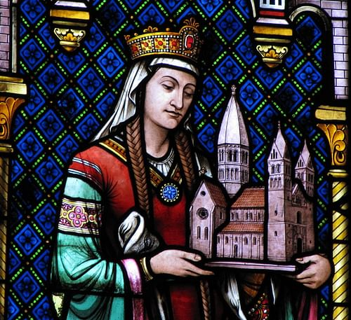 Depiction of Hildegard of Bingen in the St. Foy Church (by Ralph Hammann, CC BY-SA)