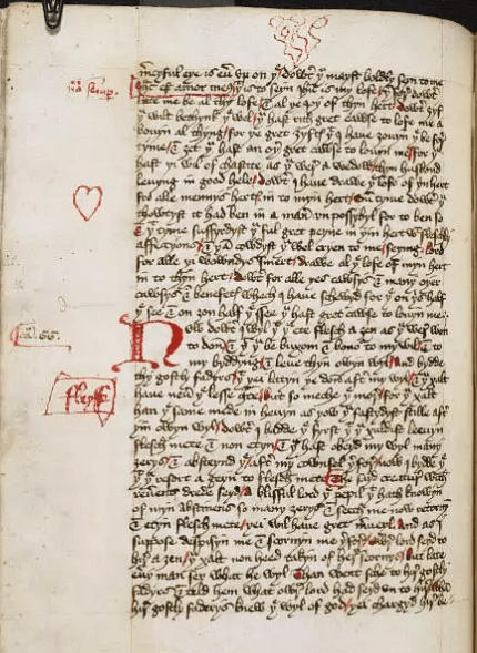 Page from The Book of Margery Kempe (by British Library)