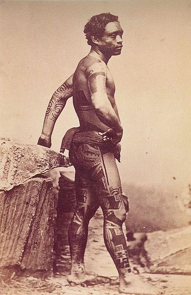 Tattooed Warrior from the Marquesas Islands