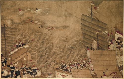 Wako & Chinese Naval Battle (by Unknown Artist, Public Domain)