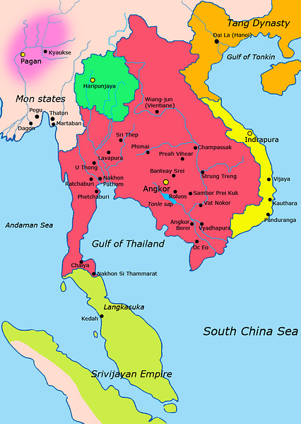 Khmer Empire c. 900 CE (by Javierfv1212, CC BY-SA)