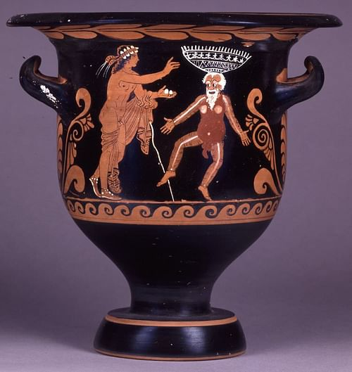 Comic Scene, Bell-krater, Paestum (by Trustees of the British Museum, Copyright)