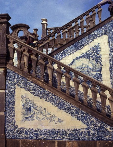 Blue and White Tiled Stairs