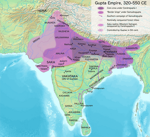 Extent of the Gupta Empire, 320-550 CE