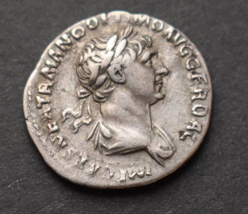 Silver Denarius of Trajan (Obverse Side)