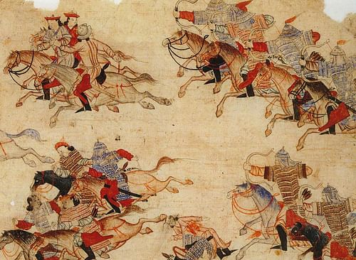 Mongol Warriors in Battle (by Unknown Artist, Public Domain)