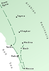 Routes of the Badr Campaign, 624 CE