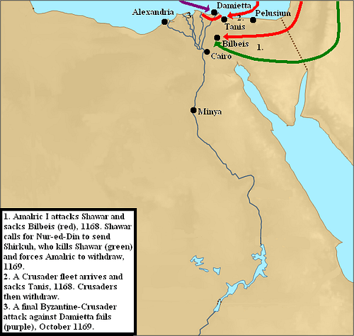 Fourth Crusader Invasion of Egypt, 1168-1169 CE