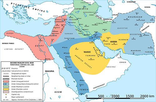 Map of the Middle East during the Second Fitna (c. 686 CE)