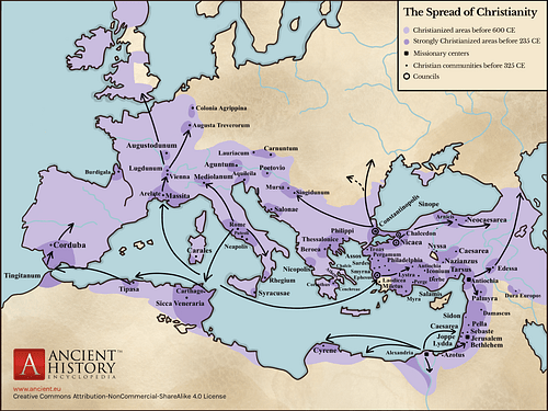 Spread of Christianity Map (up to 600 CE)