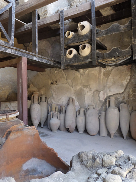 Amphorae on Wooden Racks in Herculaneum