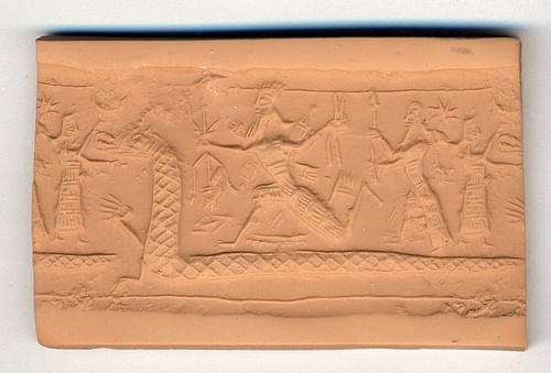 Neo-Assyrian Cylinder Seal Possibly Depicting Tiamat as a Serpent (by The Trustees of the British Museum, CC BY-NC-SA)