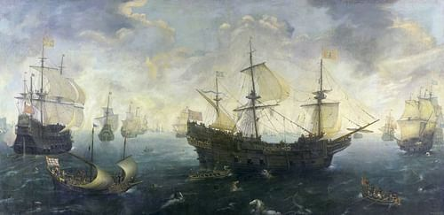 The Spanish Armada of 1588 CE By van Wieringen (by Cornelis Claesz van Wieringen, CC BY-NC-SA)