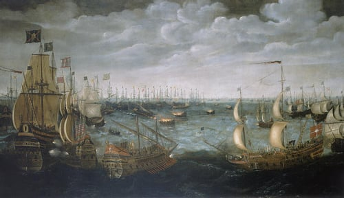 Fire Ships Attack the Spanish Armada