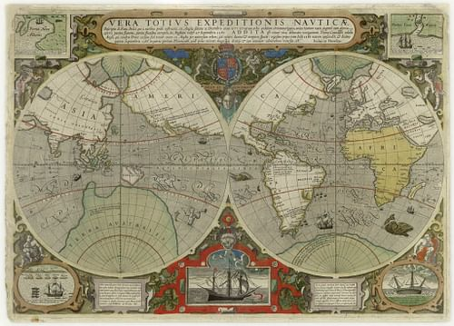 Map of Drake's and Cavendish's Circumnavigations of the Globe