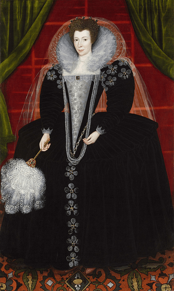 Elizabethan Lady in Farthingale Dress.