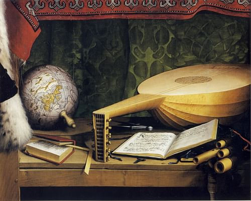 16th century CE Desk with Lute, Globe and Books