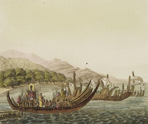 Tahitian Double-Hulled War Canoe