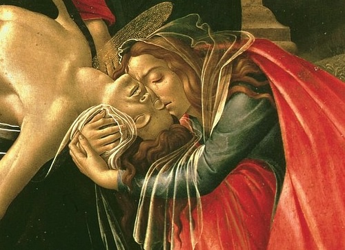 Detail of the Lamentation over the Dead Christ by Botticelli (by The Yorck Project, Public Domain)