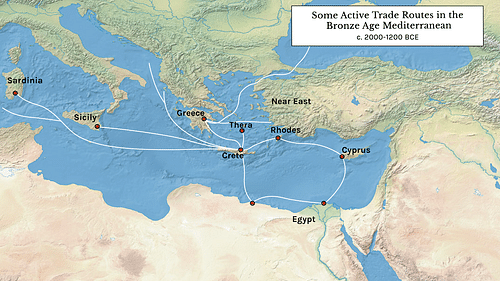 Some Active Trade Routes in the Bronze Age Mediterranean