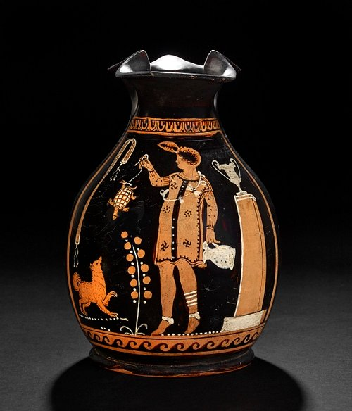 Red-figured Jug - Girl Playing with Tortoise