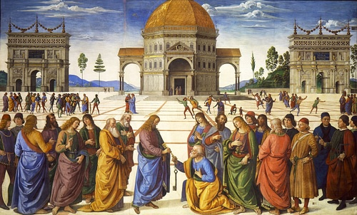 Delivery of the Keys to St. Peter by Perugino (by Pietro Perugino, Public Domain)