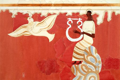 Lyre Player and Bird Fresco (by Leporello78, CC BY-SA)